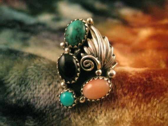 Size 6 Multi Stone Sterling Silver Ring