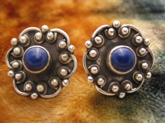 Vintage Lapis Sterling Silver Earrings