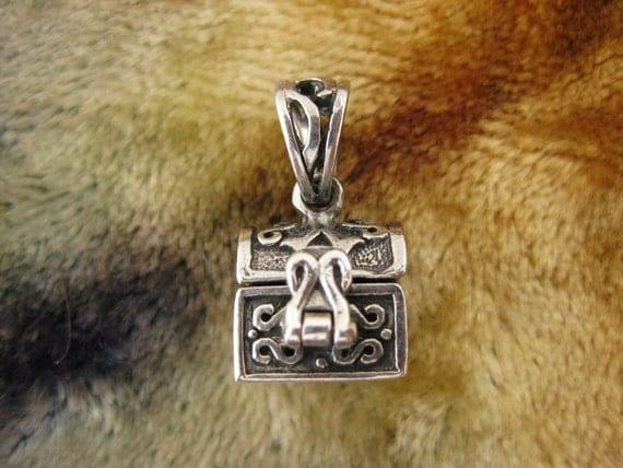 Charm - Sterling Silver  - Treasure Chest -  Locket Charm - Sterling Box - Silver Locket - Silver Pendant - Signed