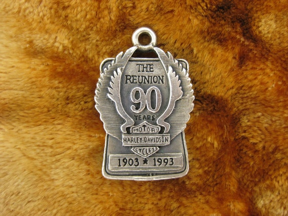 Pendant - Harley Davidson - 90 Years Reunion - Cycles - 1903 - 1993 Years - Wings - Signed Stamped
