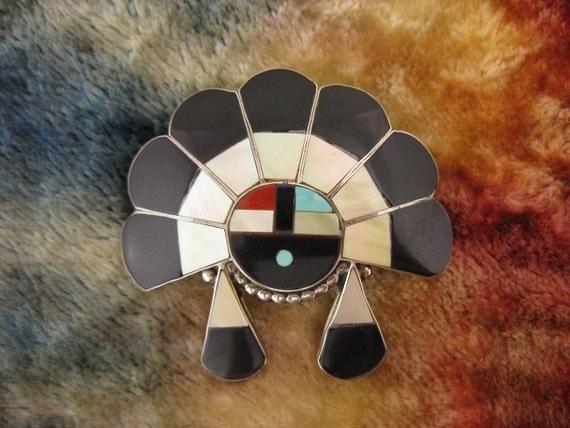 Multi-Stone Zuni Sterling Silver Pendant Pin Brooch