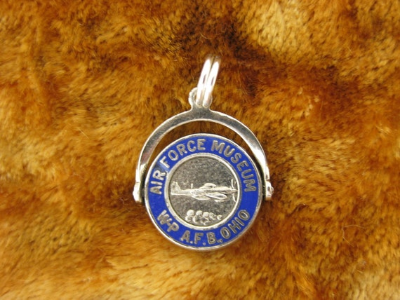 Charm - Sterliing Silver -  Air Force Museum Blue Enamel - AFB - Ohio - Spinner Charm - Moveable Parts