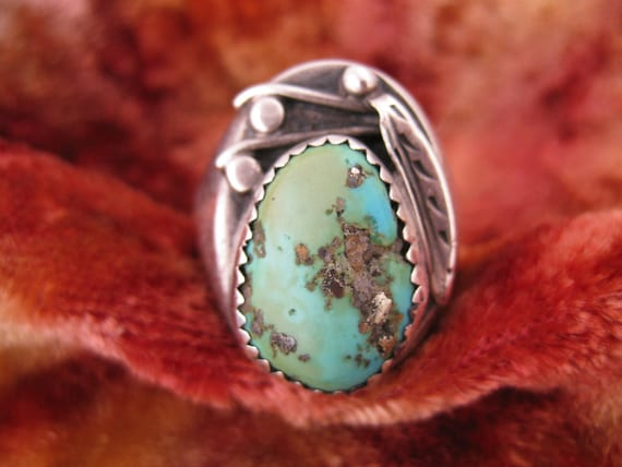 Ring - Size 14 1/4 - Mens Turquoise Ring - Large Silver Ring -  Heavy Sterling Ring - Natural Blue Turquoise