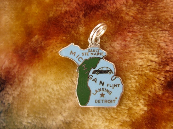 Wells Sterling Silver Charm Michigan Wolverine State with Enameling