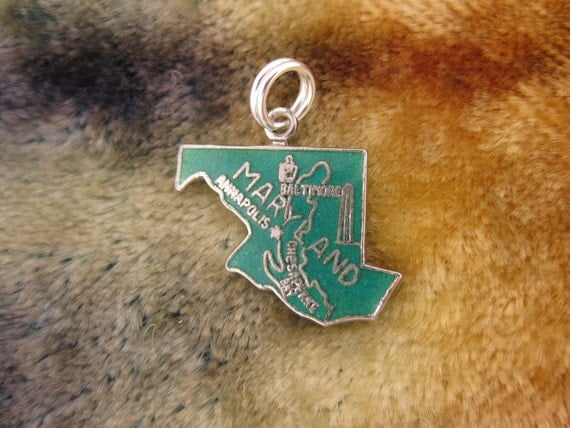 Charm - Sterling Silver - Maryland State Charm - Green Enameled Jewelry - Traveler Souvenir - Signed Stamped 925