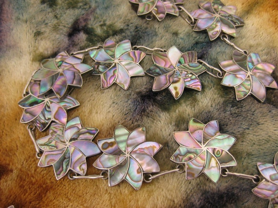 Necklace - Sterling Silver - Abalone Shell - Taxco Silver - Mexican - Flower Clusters - Colorful Rainbow - Artist Signed