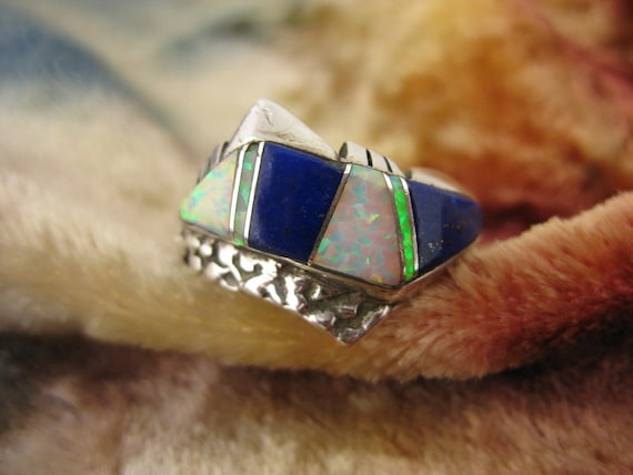 Ring - Size 11 1/4 - Sterling Silver  - Lapis - Opal - High Fashion Ring - Sterling Opall Ring -Silver Lapis Ring