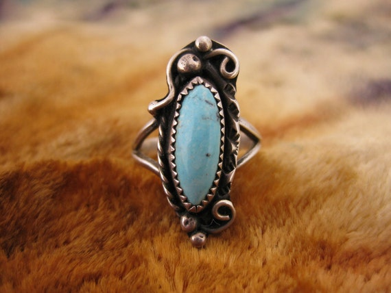Ring - Size 5 - Sterling Silver - Turquoise Ring - Long Stone Jewelry - Southwest Style Silver - Signed Stamped WS