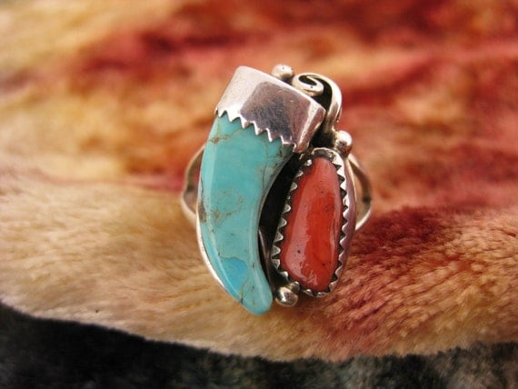Ring - Size 7 3/4 - Sterling Silver - Turquoise Claw Ring - Red Coral Jewelry - Blue And Red Stones - Multi Stone Ring