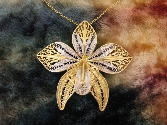Necklaces - Sterling Silver - Vermil Silver - Orchid Flower - Silver and Gold - Filigree Floral Designed Pendant - Signed Stamped