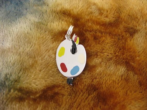 Charm - Sterling Silver - Painters Palette Charm - Multicolored Enamel - Art Jewelry - Paintbrush Charm