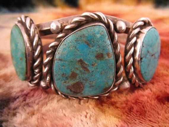 Bracelet - Sterling Silver - Large Turquoise - Southwestern - Silver Cuff Bracelet - Heavy Bracelet - Unknown Maker