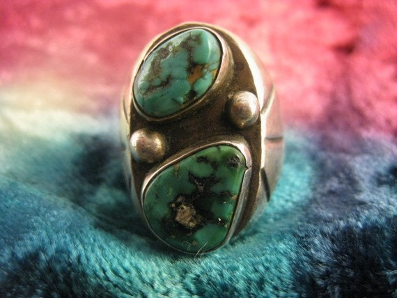 Large Sterling Silver Turquoise Ring size 10 1\/2