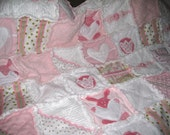 Pink and White Minky and Fleece Blanket