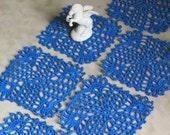 Set of Six Crochet Coasters or Mini Doilies in Blue