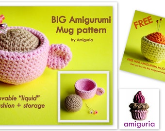 Big Amigurumi Mug PDF pattern by Amiguria - FREE Mini Mug PDF pattern included