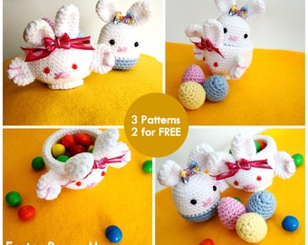 Easter Bunny Mug Amigurumi PDF - Bunny and Eggs FREE pattern (included)
