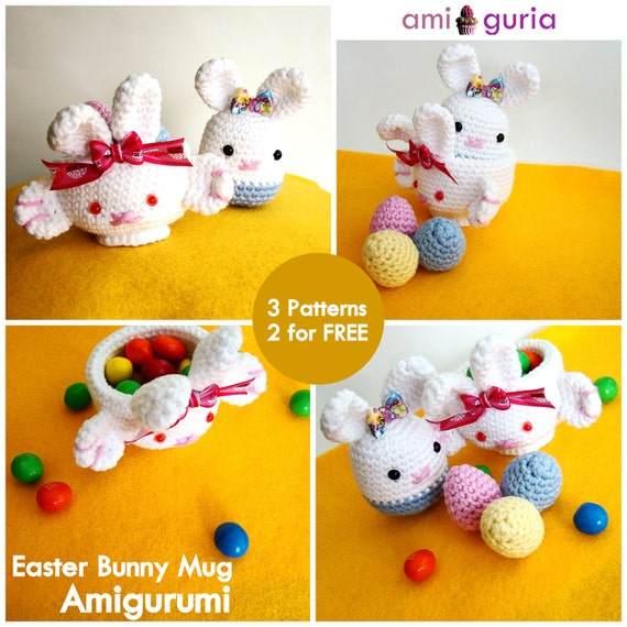 Easter Bunny Mug Amigurumi PDF - Bunny and Eggs FREE pattern (included)