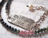 cultivate love necklace . eco silver pendant . tourmaline gemstones . free shipping