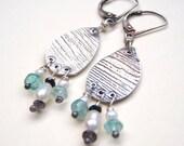 rustic silver medallion and gemstone earrings . aquamarine pearls iolite . seek peace earrings . ready to ship by peacesofindigo