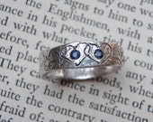 recycled silver wedding band ring .  garden vine texture . engraved hearts . faceted blue fair trade sapphires