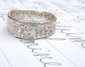 happily ever after mens ring . thick recycled silver . custom personalized words inside by peacesofindigo