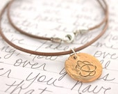 rustic celtic knot necklace for him . deerskin leather . recycled bronze brave pendant . ready to ship free shipping