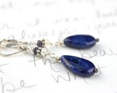 navy blue lapis earrings . lapis citrine and iolite earrings . free shipping . ready to ship