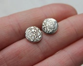 white sapphire post earrings .  eco friendly jewelry . recycled silver post earrings . ready to ship free shipping