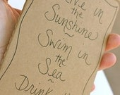 emerson quote Moleskine notebook . Live in the Sunshine, Swim in the Sea, Drink the Wild Air journal by peacesofindigo . ready to ship
