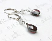 garnet and moonstone earrings . sterling silver dangle earrings .  free shipping . ready to ship