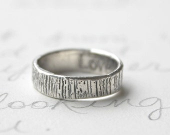 tree bark wedding band . woodgrain band ring .  eco recycled silver band . custom size personalized secret message ring