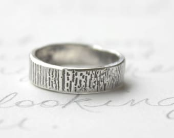 mens wedding band . mens woodgrain band ring . recycled silver ring . custom ring with personalized with inner message . made to order