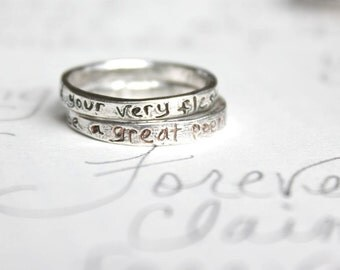 romantic quote wedding band set . recycled sterling silver stacking ring set . and your very flesh whitman quote by peacesofindigo