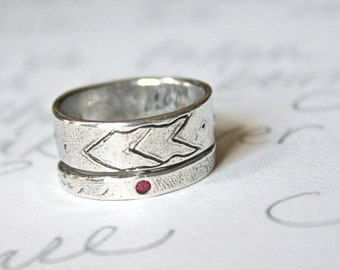 chevron ruby wedding band set . wide recycled silver arrow wedding ring set . thoreau bohemian wedding rings . Made to order