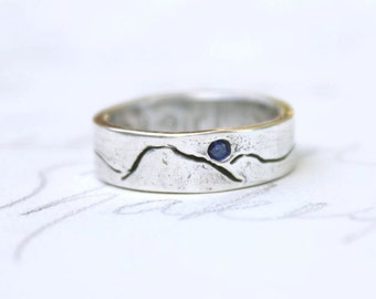 inspirational mountain ring . custom mountain landscape wedding band . handmade jewelry ring . silver ring . fair trade sapphire ring