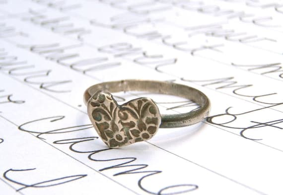 silver love token heart ring . recycled silver heart jewelry . sterling silver band by peaces of indigo