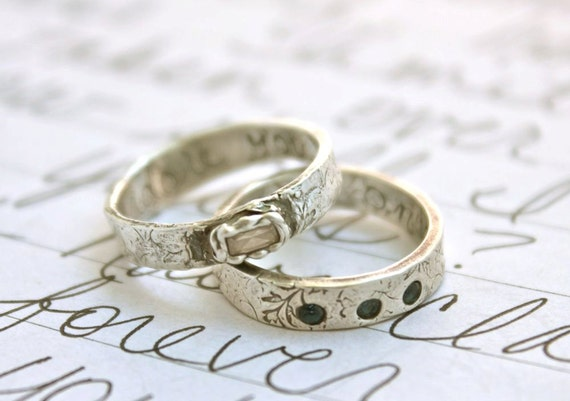 simulated white diamond engagement ring . recycled silver wedding band . i adore you inscription. ready to ship size 5.25