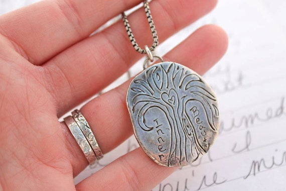 large silver tree of life necklace . artisan inner beauty necklace . ready to ship free shipping