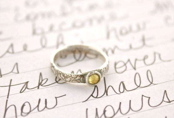 yellow sapphire engagement ring . the road less travelled ring . eco friendly wedding band . ready to ship size 5 . free shipping