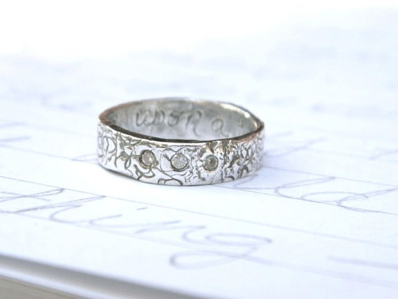 recycled silver three stone wedding band . custom once upon a time inscription . white topaz rustic engagement ring