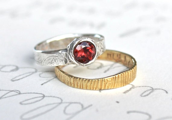 garnet engagement ring . faceted red gemstone ring .recycled silver and garnet ring . free spirit ring . free shipping