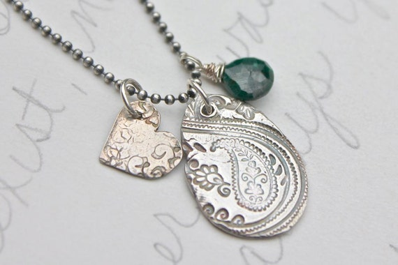 paisley emerald necklace . bohemian silver charm necklace . eco silver follow your heart necklace . ready to ship . free shipping