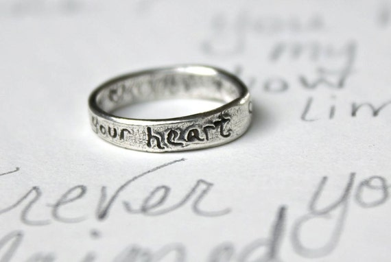silver heart and arrow ring . recycled silver wedding band . engraved message follow your heart ring . stacking band by peacesofindigo