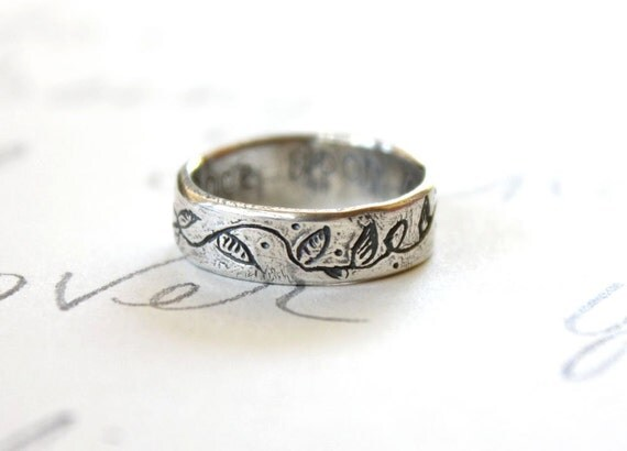 vine wedding band ring . once upon a time secret message . whimsical leaf ring . custom size engraved message . free shipping