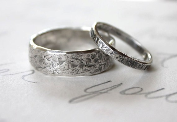 rustic wedding band ring set custom recycled silver wedding rings engraved inscription river - Wedding Band Rings