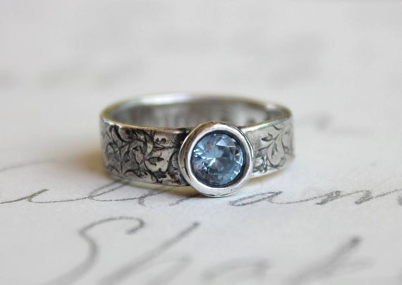 recycled silver and aqua wedding band . sim aquamarine engagement ring . illuminate vine textured silver band ring . made to order