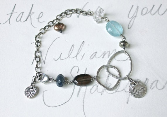 sterling and gemstone charm bracelet . aquamarine herkimer diamond pearl bracelet . love charm by peacesofindigo . free shipping