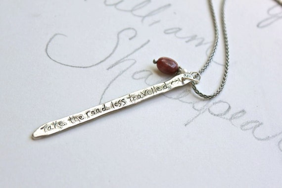 reserved for the fabulous R . the road less travelled necklace . recycled silver and ruby necklace . recycled silver