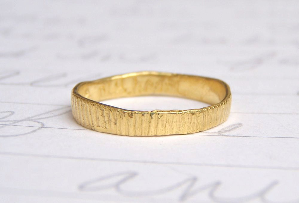 Recycled 22k Gold Wedding Band Solid Yellow By Peacesofindigo